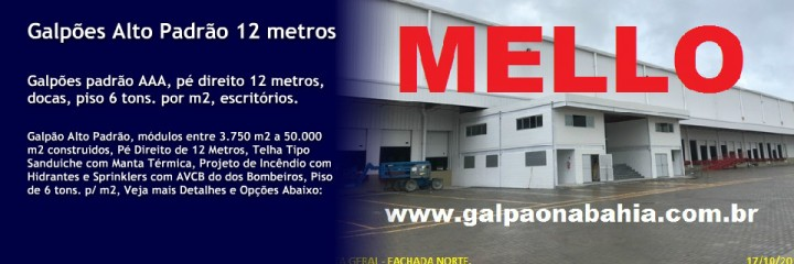 GALPÕES EM CONDOMÍNIO, SALVADOR, FEIRA DE SANTANA, CAMAÇARI, LAURO, VITÓRIA DA CONQUISTA, SIMÕES FILHO, TEIXEIRA DE FREITAS, Segurança 24 Horas, Pátio de Carretas, Local Seguro, Localização Estratégica, Infraestrutura, Atuação em todo o Estado da Bahia, e nos Principais Eixos Logísticos do Brasil. Imobiliária Especializada em Aluguel e Venda de Galpões e CD´s Logísticos e Industriais, As Melhores Opções, com os Menores Preços do Mercado. www.mellogalpoes.com.br , www.galpaonabahia.com.br , www.aluguelevendadegalpoes.com.br , www.melloimoveis.com , www.alugueldegalpoesemsalvador.com.br www.galpoesemfeiradesantana.com.br , www.galpoesemfeiradesantana.com , 71 99974-3312 Galpões de Alta Performance - BRAZIL INDUSTRIAL & WAREHOUSE PLOTS/PROPERTIES . Fale com a Mello Galpões, Imobiliária Especializada em Galpões, Centenas de Galpões Exclusivos, Galpões entre 300 m2 a 80.000 m2 construídos. -x-x-x-x- GALPÕES EM CONDOMÍNIO, SALVADOR, FEIRA DE SANTANA, CAMAÇARI, LAURO, VITÓRIA DA CONQUISTA, SIMÕES FILHO, TEIXEIRA DE FREITAS, Segurança 24 Horas, Pátio de Carretas, Local Seguro, Localização Estratégica, Infraestrutura, Atuação em todo o Estado da Bahia, e nos Principais Eixos Logísticos do Brasil. Imobiliária Especializada em Aluguel e Venda de Galpões e CD´s Logísticos e Industriais, As Melhores Opções, com os Menores Preços do Mercado. Galpões de Alta Performance - BRAZIL INDUSTRIAL & WAREHOUSE PLOTS/PROPERTIES . Fale com a Mello Galpões, Imobiliária Especializada em Galpões, Centenas de Galpões Exclusivos, Galpões entre 300 m2 a 80.000 m2 construídos. Galpões para Grandes Investidores: Temos Galpões de Alto Padrão, Pé direito de 16 metros, em Terrenos com possibilidade de construção de 100.000 m2 de Galpões, Galpões a Alugados à Venda a partir de R$ 6.000.000,00 a R$ 60.000.000,00 , alugados para Clientes AAA, com retorno a partir de 1 % a.m., para Fundos Imobiliários, Fundo de Pensão, e Grandes Investidores, com Garantia de Fiança Bancária de Bancos de 1a. Linha (AAA). Co